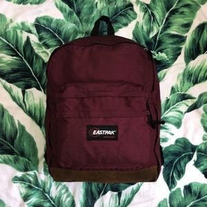 Vintage 90s Eastpak Backpack Maroon Brown Leather
